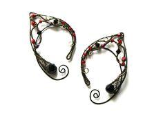 Elf Ear Cuffs Red Black Elf Ears Wire Wrapped by rsuniquejewel