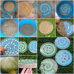 How to make Mosaic Stepping Stones step by step DIY tutorial instructions