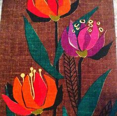 60s swedish fantastic wall hanging vintage tapestry by Inspiria