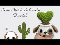 Cacto - Vasinho Cachorrinho - YouTube Crochet Amigurumi Free Patterns, Crochet Doll Pattern, Free Crochet, Knitting Patterns, Handmade Soft Toys, Crochet Cactus, Doll Tutorial, Amigurumi Doll, Beautiful Crochet