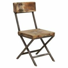"Distressed reclaimed pine wood side chair.  Product: ChairConstruction Material: Reclaimed pine wood and ironColor: Distressed brownFeatures: Hand-finishedDimensions: 38"" H x 18.5"" W x 24"" DCleaning and Care: Clean with dry cloth"