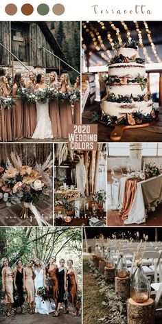 terracotta and greenery - boho theme -forest 2020 wedding color trends. Check it out. Theme Weddings To Die For Top 10 Wedding Color Trends to Inspire in 2020 Rustic Wedding Colors, Fall Wedding Colors, Burgundy Wedding, November Wedding Colors, Unique Wedding Themes, Wedding Colour Schemes, Copper Wedding Decor, Grey Wedding Theme, Pastel Wedding Colors