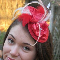 Red Fascinator Feather fascinator Wedding hat by FascinatorsFirst, $37.00