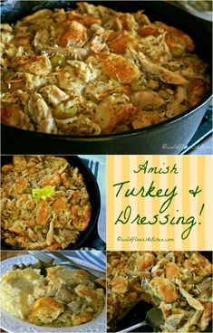 Roast Turkey (or Chicken) and Dressing Casserole Amish Turkey or Chicken & Dressing Casserole! - Wildflour's Cottage KitchenAmish Turkey or Chicken & Dressing Casserole! Chicken And Dressing Casserole, Chicken Dressing, Turkey Dressing, Cornbread Dressing, Dutch Recipes, Cooking Recipes, Frugal Recipes, Entree Recipes, Cooking Tips