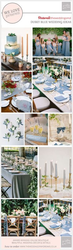 We are seeing more and more couples adding a hint of dusky blue to their wedding color palette and we love it. The soft dusky blue tone can be mixed with other shades of blue for an all blue wedding color scheme, or perhaps mix it with other colors Summer Wedding Decorations, Winter Wedding Colors, Wedding Ideas, Wedding Tables, Summer Weddings, Wedding Inspiration, Dusky Blue Wedding, Steel Blue Weddings, Botanical Wedding Theme