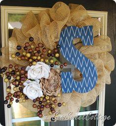 Fall Wreath--Burlap deco mesh with burlap flowers, berry picks, and chevron monogram...Sew Sweet Cottage