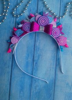 Candyland inspired Sweet Treats Pink White Blue headband Candy headband Birthday headband Candy part Crochet Hair Accessories, Girls Hair Accessories, Candy Crown, Colorful Birthday Party, Candy Costumes, Candy Hair, Tea Party Hats, Cute Headbands, Quilling Designs