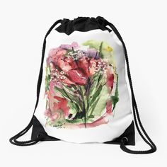 Designs, Drawstring Backpack, Backpacks, Bags, Shopping, Fashion, Cinch Bag, Tulips, Handbags
