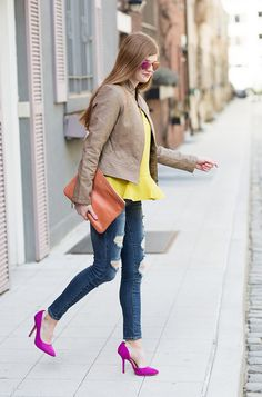 Add a seasonal burst to your look with a bright yellow blouse. Pair this look with distressed jeans and a caramel leather jacket for a cool street chic style | Banana Republic
