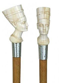 English Ivory Nefertiti Cane