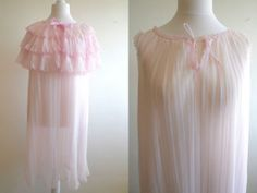 """Vintage peignoir and nightgown baby pink chiffon nylon pleated lingerie set 36"""""""