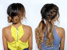Which tutorial would you like to see first? 1. LOW DOUBLE BUNS 2. FISHTAIL PIGTAILS Comment below!