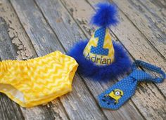 Birthday Party Hat, Diaper Cover, Tie-Smash Cake-Despicable Me Minion   FreshSqueezedBaby -  on ArtFire - SOO cute!