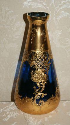 Stunning Bohemian Czech Moser Cobalt Blue Gold Gilt Enameled Art Glass Vase | eBay