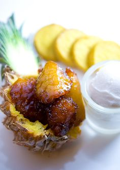 Caramelized Baby Pineapple with Coconut Sorbet & Coconut-Curry Cookies