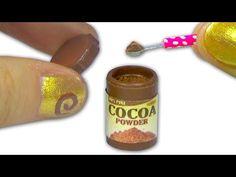 Miniature doll cocoa or chocolate powder plastic jar tutorial - Dollhouse DIY - YouTube