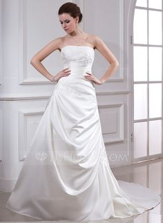[US$ 179.99] A-Line/Princess Strapless Chapel Train Satin Wedding Dress With Ruffle Beading Appliques Lace