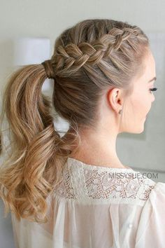 Double Dutch Braid ponytail - I love tossing my hair into a ponytail during the hot summer heat. Throwing in two Dutch braids is - Braided Ponytail Hairstyles, Box Braids Hairstyles, Hairstyle Ideas, Hairstyles 2016, Fishtail Braids, Braid Hairband, Braids Into Ponytail, Ponytail Ideas, Lace Braid