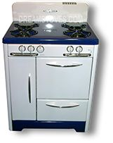 """1947 30"""" - O'Keefe & Merritt Vintage Stove with blue porcelain cook-top and kick-plate"""