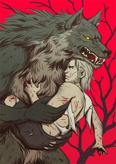 """alisegluskova: """" Werewolf friend on a rescue. Comic I want to make (comic I will hopefully made one day). """""""