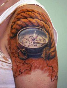 tatuaż kompas 3d
