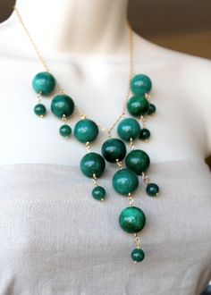 Dark Green Jade Beaded Bib Necklace, statement piece, gold long and short chain, Deep Peacock, pine, hunter,