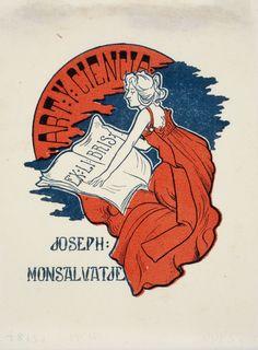 RIQUER E YNGLADA, Alexandre de (Calaf, 1856 – Palma de Mallorca, 1920). Ex-libris Joseph Monsalvatje. Ca. 1900-1905. Fotograbado a color sobre papel, 11,6 x 8,7 cm. Fuente: Museu Nacional d'Art de Catalunya