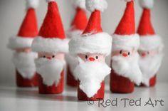 Papai Noel  feitos com rolo de papel higienico