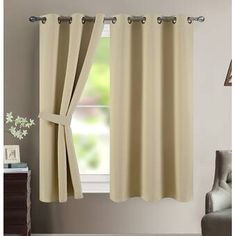 Charlton Home Maribel Solid Blackout Thermal Grommet Curtain Panels Colour: Beige, Size per Panel: W x L Blackout Panels, Blackout Windows, Blackout Curtains, Grommet Curtains, Panel Curtains, Curtain Panels, Elegant Curtains, Colorful Curtains, Striped Room