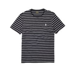 Polo Ralph Lauren Striped Cotton Jersey T-Shirt ($25) ❤ liked on Polyvore featuring men's fashion, men's clothing, men's shirts, men's t-shirts, shirts, mens striped short sleeve shirt, mens striped shirt, mens crew neck t shirts, mens short sleeve shirts and mens t shirts