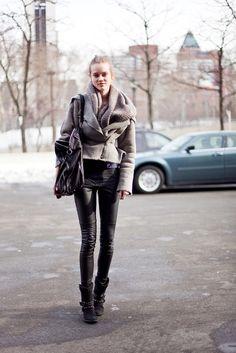 winter fashion: leather pants