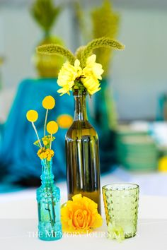 Vintage Bottles as Flower Vases - Intimate Weddings - Small Wedding Blog - DIY Wedding Ideas for Small and Intimate Weddings - Real Small Weddings