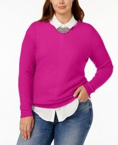 Charter Club Plus Size Cashmere Crew-Neck Sweater, Created for Macy's - Black 3X