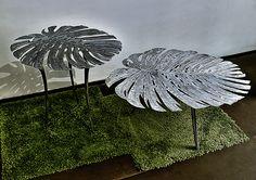 """Dos mesas """"filodendro"""" fundidas en Aluminio. Diseño y fundición Bronzo. Tenerife. Tenerife, Hand Fan, Home Appliances, Beautiful, Design, Centerpieces, Mesas, Blue Prints, House Appliances"""