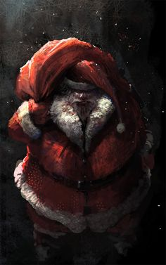 Without Santa, which X'mas design is perfect? Check this Creative Illustrations Of The Christmas Man: Santa Claus. Dark Christmas, Merry Little Christmas, Father Christmas, Halloween Christmas, Christmas Time, Xmas, Naughty Santa, Bad Santa, Christmas Artwork