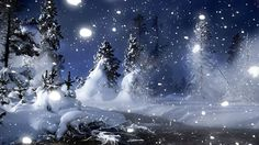 Winter   3D Landscape: Winter Night In Park, picture nr. 60710