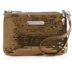 Michael Michael Kors Handbag, Sequin Medium Wristlet ($25) ❤ liked on Polyvore featuring bags, handbags, clutches, women, brown purse, leather handbags, brown leather purse, handbag purse and leather clutches