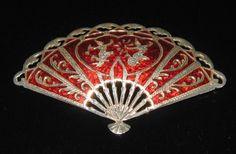 vintage red enamel Siam Silver brooch jewerly