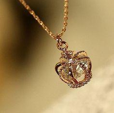 $16.90 | DIAMOND HEART CROWN NECKLACE