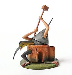 This sculpture adaptation replica, Bird Monster with Castle Body Statue, is from a painting of The Temptation of Saint Anthony by Hieronymos Bosch. Despite the threats surrounding Saint Anthony, the h