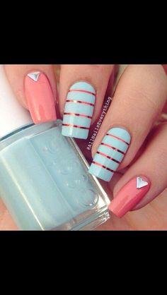 Coral & Blue Summer nail design