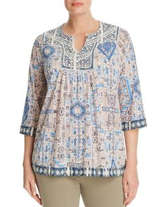Lucky Brand Women's Plus-Size Printed Peasant Top: Lucky Brand plus half sleeve fashion knit top with all over contrast print Peasant Blouse, Peasant Tops, Tunic Tops, Blouse Online, Knit Fashion, Half Sleeves, Blouses For Women, Lucky Brand, Plus Size