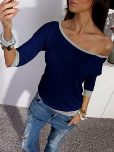 Stylish Skew Neck 3/4 Sleeve Hit Color Women's T-Shirt T-Shirts | RoseGal.com Mobile