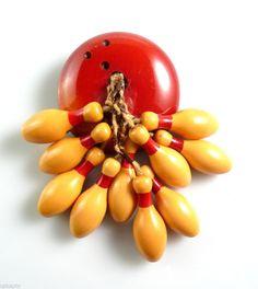 rare vintage 1930s 40s bowling pin bakelite brooch via ebay