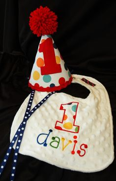 1st Birthday Party Hat and bib