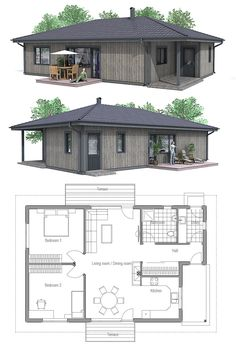 Small House Plan, Tiny home plan Craftsman House Plans, Modern House Plans, Small House Plans, House Floor Plans, Prefab Homes, Cabin Homes, Plans Architecture, Architecture Design, Two Bedroom House