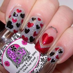 black and red glitter heart nails - valentines day nails