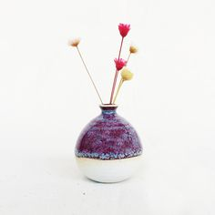 Mini Vase-Red Violet Ikebana, Bonsai, House Warming, Vase, Ceramics, Christmas Ornaments, Holiday Decor, Mini, Red