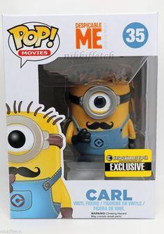 Despicable Me Mustache Carl Minion Pop! Vinyl Figure EE Exclusive #FUNKO