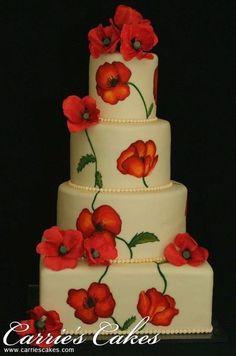 Wedding cake - painted poppies + sugar poppies